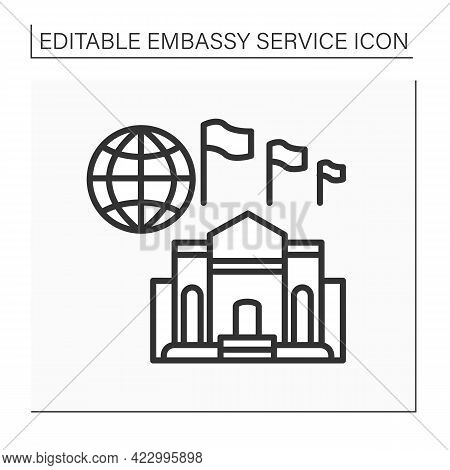 High Commission Line Icon. Diplomatic Mission, Found In Countries Members Of The Commonwealth Of Nat