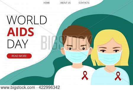 World Aids Day Template With Young Man And Woman Wearing Masks And Red Ribbon, Solidarity With Hiv-p