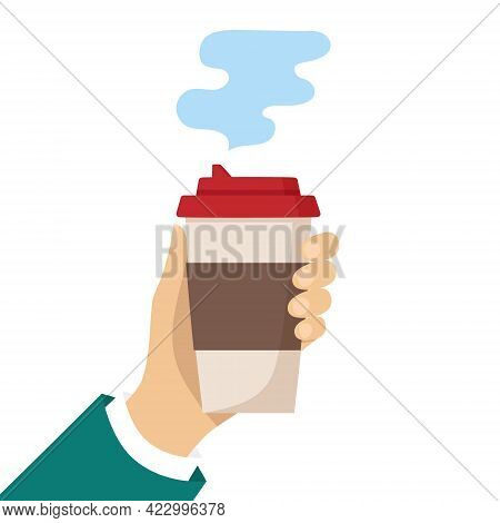Human Hand Holds A Cup Of Hot Drink. Disposable Coffee Paper Cup With The Steam. Coffee To Go Concep