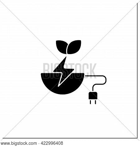 Biomass Energy Glyph Icon. Organic Energy Generation. Produced By Living Or Once-living Organisms. P