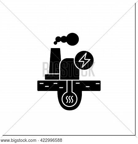 Geothermal Power Glyph Icon. Geothermal Energy. Dry Steam, Flash Steam, Binary Cycle Power Station.