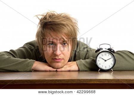 Male portrait with alarm clock
