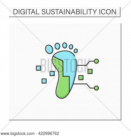 Digital Footprint Color Icon. Unique Actions On Internet, Devices.digital Shadow.data Trail. Digitiz