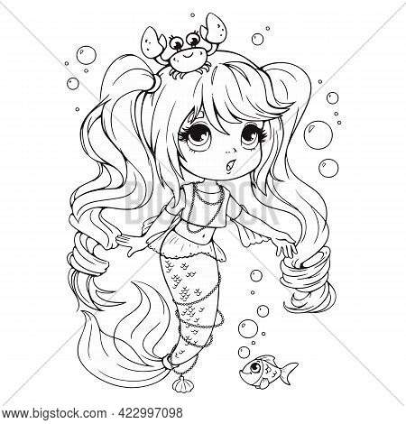 Cute Little Mermaid With A Crab On Her Head Coloring Book. Coloring Book For Girls With A Beautiful