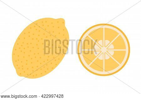A Whole Lemon And A Slice Of Lemon On An Isolated White Background. Flat Vector Illustration. The Fr
