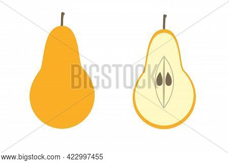 Whole Pear And A Piece Of Pear On An Isolated Background. Flat Vector Illustration. The Fruit.