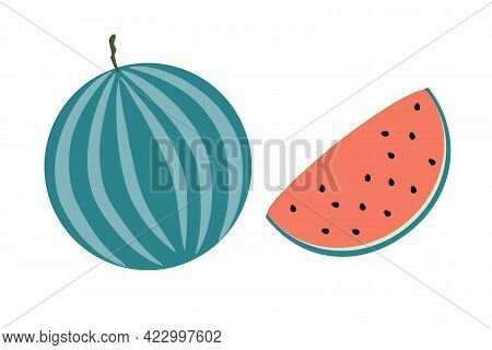 A Whole Watermelon And A Slice Of Watermelon On An Isolated White Background. Flat Vector Illustrati