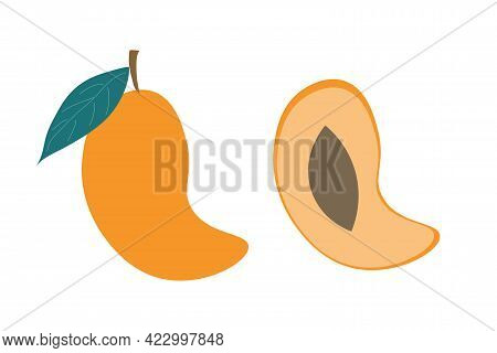 A Whole Mango And A Slice Of Mango On An Isolated White Background. Flat Vector Illustration. Exotic