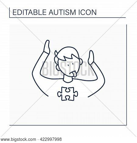 Neurodevelopmental Disorder Line Icon. Abnormal Body Posturing. Facial Expression. Restricted, Repet