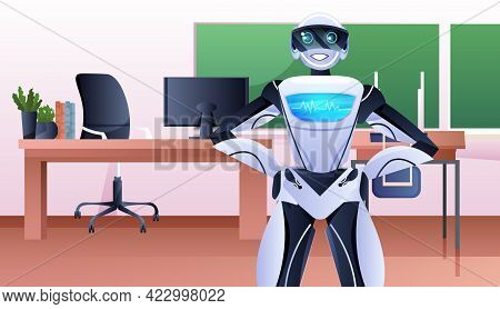 Robotic Businessperson Standing In Office Artificial Intelligence Technology Concept Horizontal