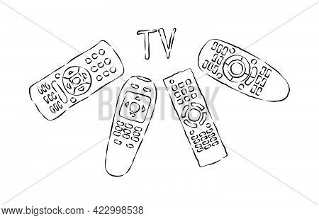 Four Hand Remote Control Facing Inscription Tv. Multimedia Panel With Shift Buttons. Program Device.