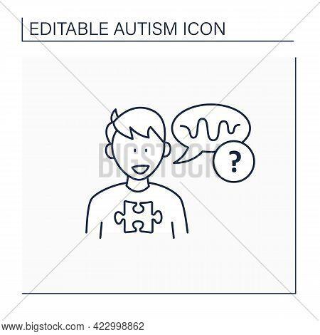 Neurodevelopmental Disorder Line Icon. Abnormal Voice Tone. Atypical Speech.odd Rhythm Or Pitch . Au