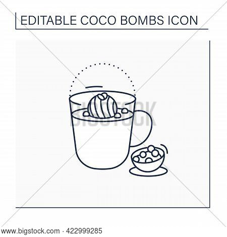 Coco Bomb Line Icon. Delicious Dessert. Cute Ball Of Chocolate With Marshmallows Filling. Bomb Insid