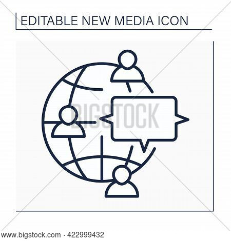 Discussion Forum Line Icon. Real Time Conversation. Online Internet Discussion About Issues. Global