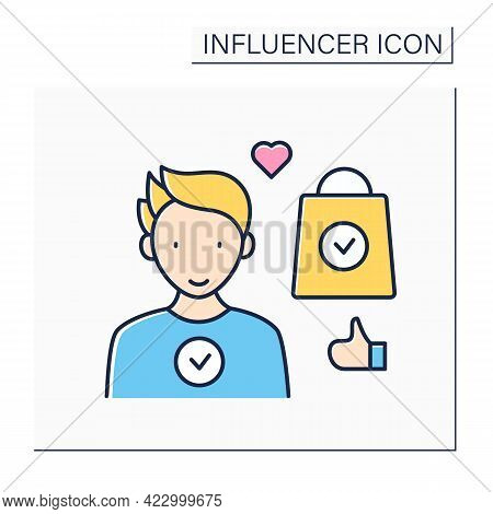 Ambassador Color Icon. Official Representative Of Brand Interests Among Target Audience.well-known,