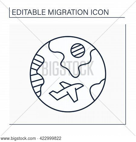 Diaspora Line Icon. Ethnic Community That Permanently Resides Outside Of Its Homeland. Migration Con