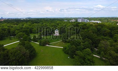 Flight Over The English Garden In The City Of Munich Aerial View From Above - Drone Photography