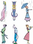 Vector set of exquisite cats. Color cartoons. poster