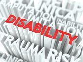 Disability Background Design. Word of Red Color Located over Word Cloud of White Color. poster