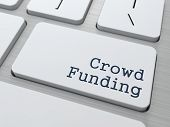 Crowd Funding Concept. Button on Modern Computer Keyboard with Word Partners on It. poster