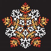 Decorative ornament - a New Year's snowflake a composition in a circle for a stained-glass window poster