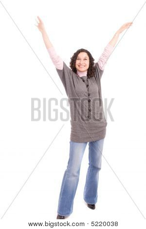 Very Happy Girl With Arms Raised
