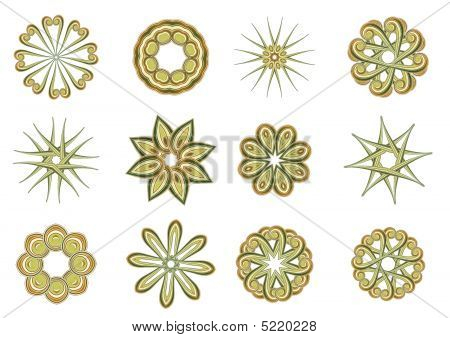 Vector illustration set of abstract floral and ornamental elements poster