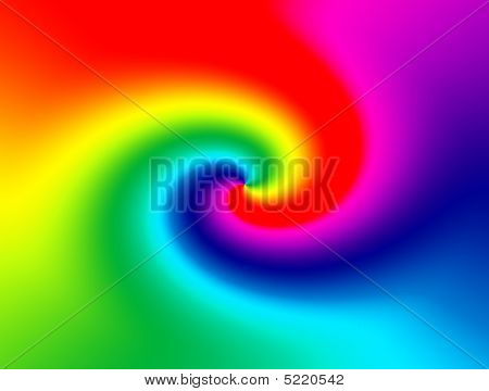 Red green yellow and blue abstract rainbow. swirl illustration poster
