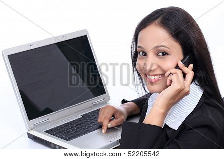 Happy Young Business Woman Talking On Mobile Phone