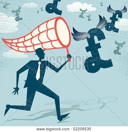 Abstract Businessman chasing and netting