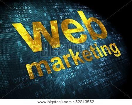 SEO web development concept: Web Marketing on digital background