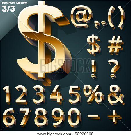 Vector illustration of golden 3D alphabet. Compact Medium style. Set 3