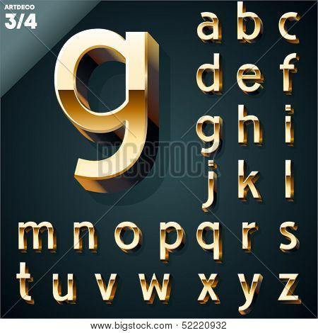 Vector illustration of golden 3D alphabet. Art Deco style. Set 3