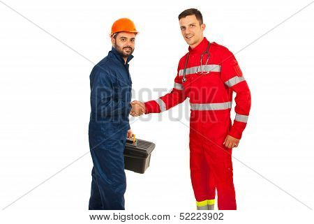 Meeting Worker With Paramedic