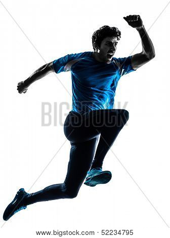 one caucasian man  running sprinting jogging shouting  in silhouette studio isolated on white background