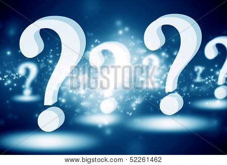 question mark on a glowing blue background poster