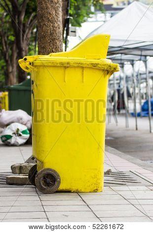 Yellow Rubbish Bin