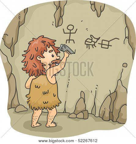 Illustration of a Caveman Etching Figures on the Walls of a Cave Using a Piece of Stone