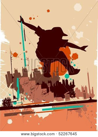 Illustration Featuring the Silhouette of a Parkour Practitioner Against a Grunge Themed Background