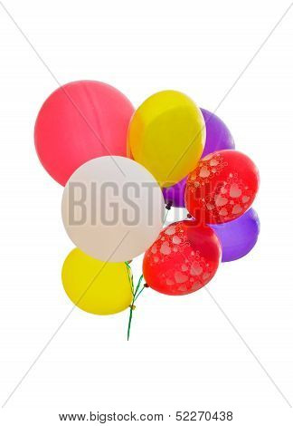 Colorful Party Balloons Over White