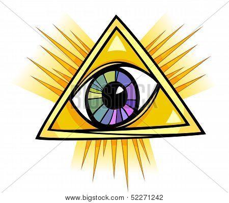 Eye of Providence Cartoon Illustration Clip Art poster