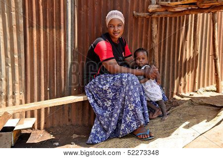 Mother And Child In Kampala Slums