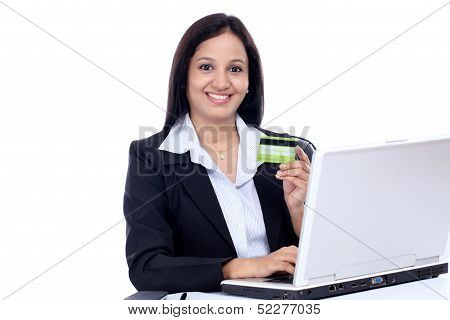 Happy Young Business Woman Doing Online Shopping