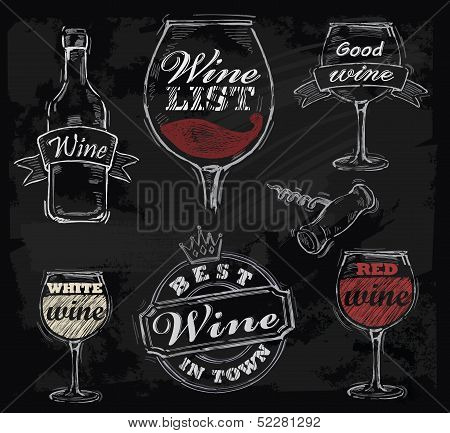 vector chalk wine