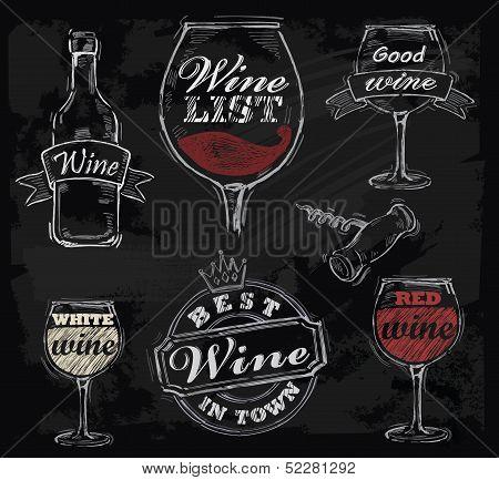 vector chalk wine