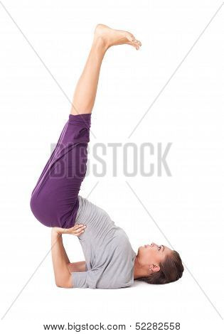 Young Woman Doing Yoga Exercise Supported Shoulderstand