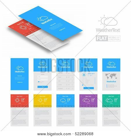 Colorful Flat Weather Mobile Web UI Concept / EPS10 Vector Illustration / poster