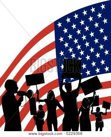 Protesting People Silhouette With American Flag