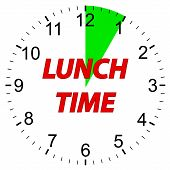 Lunch time clock on a white background. Vector illustration. poster