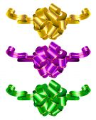 Color celebratory bows for ornament of gifts poster